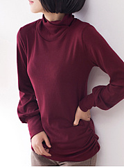 Turtle Neck  Plain  Lantern Sleeve Long Sleeve T-Shirts