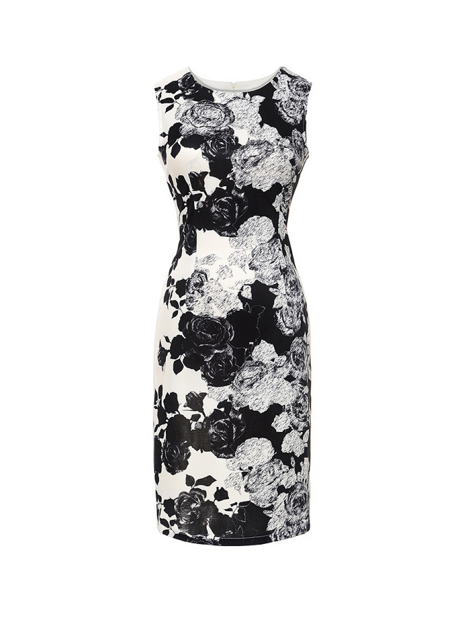 Round Neck Sleeveless Slit Chic Floral Bodycon Dress