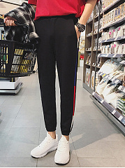 Mens-Contrast-Trim-Pocket-Slim-Leg-Casual-Pants