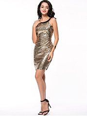 Stunning Round Neck Glitter Color Block Bodycon Dress