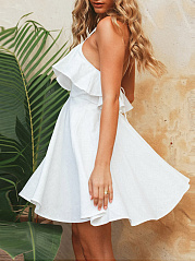 Spaghetti Strap Flounce Plain Skater Dress