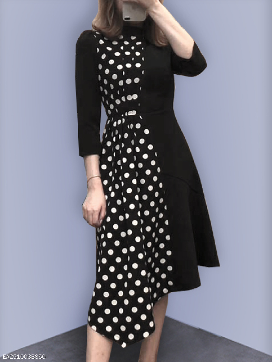 Crew Neck  Ruched  Polka Dot Skater Dress