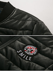 Band Collar Quilted Badge Plain Men Padded Coat