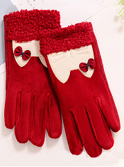 Cartoon Cat Chamois Thick Leather Gloves