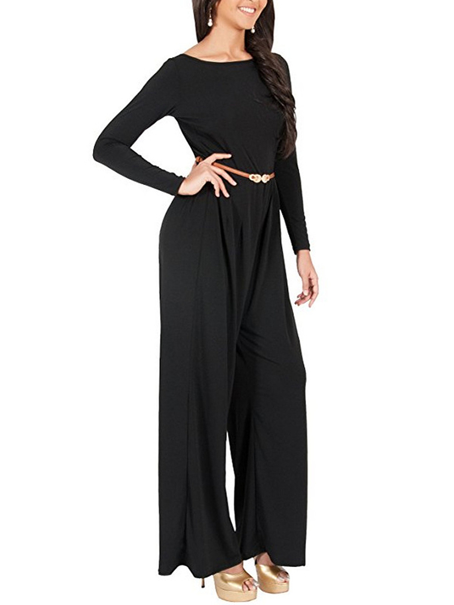 Round Neck Belt Plain Wide-Leg Jumpsuit