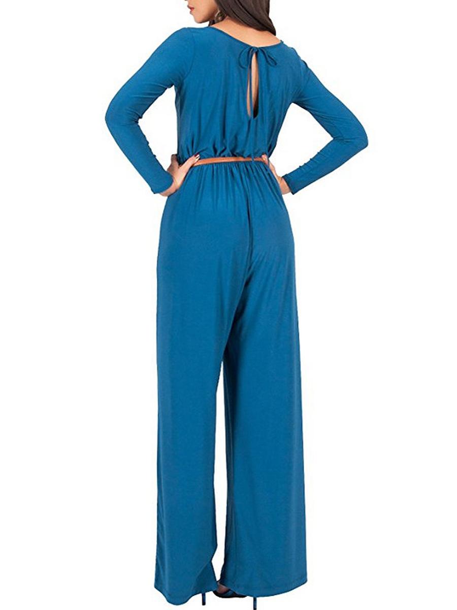 Round Neck Belt Plain Wide-Leg Jumpsuit