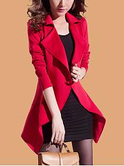 Lapel  Asymmetric Hem  Plain  Long Sleeve Trench Coats