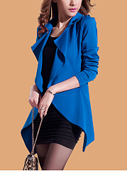 Lapel  Asymmetric Hem  Plain  Long Sleeve Trench Coats