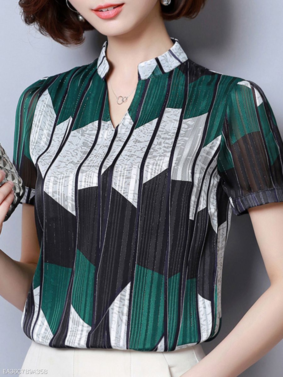 Autumn Spring Summer  Polyester  Women  V-Neck  Striped  Short Sleeve Blouses