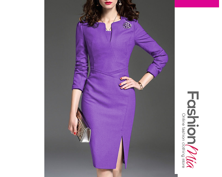 thickness:regular, brand_name:fashionmia, style:office outfit, material:blend, collar&neckline:sweet heart, sleeve:three-quarter sleeve, more_details:badge, pattern_type:plain, length:knee-length, how_to_wash:line dry, supplementary_matters:the fabric is slightly elastic., occasion:daily,office, season:autumn,winter, dress_silhouette:empire line, package_included:dress*1, lengthsleeve lengthbustwaisthip
