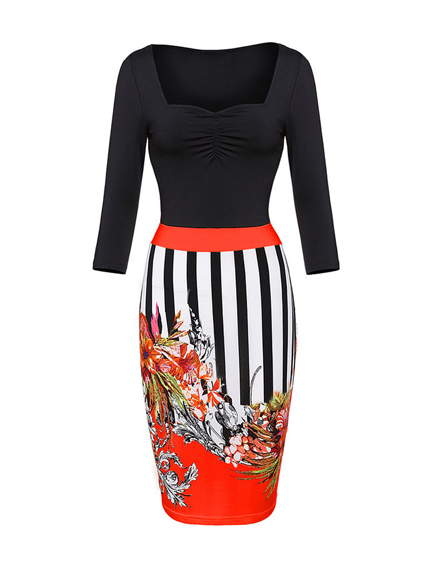 Sweet Heart Striped Floral Printed Bodycon Dress