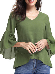 Autumn Spring  Women  Asymmetric Hem  Plain  Three-Quarter Sleeve Blouses