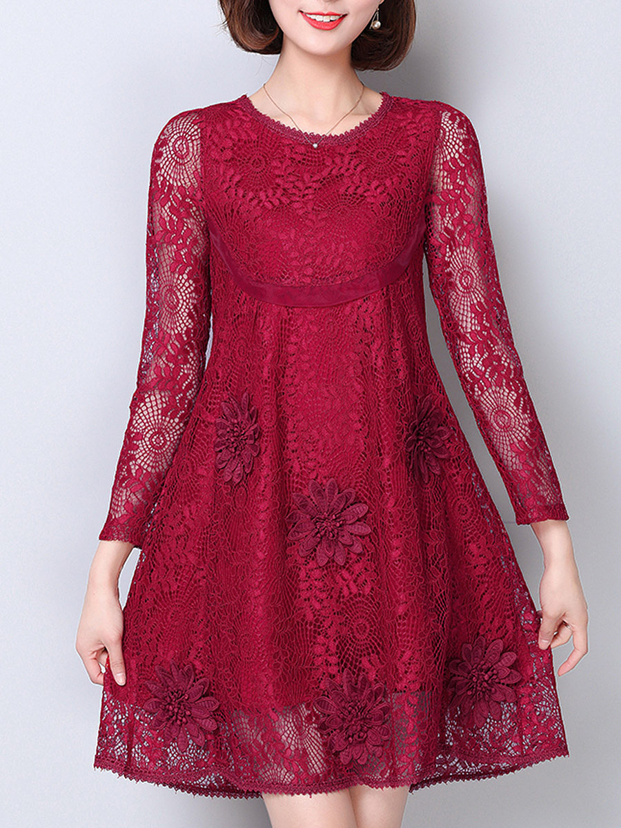 Round Neck  Lace Plain  Lace Shift Dress