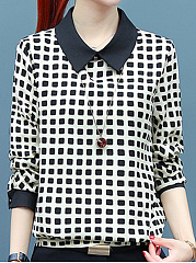Autumn Spring  Women  Doll Collar  Plaid  Long Sleeve Blouses