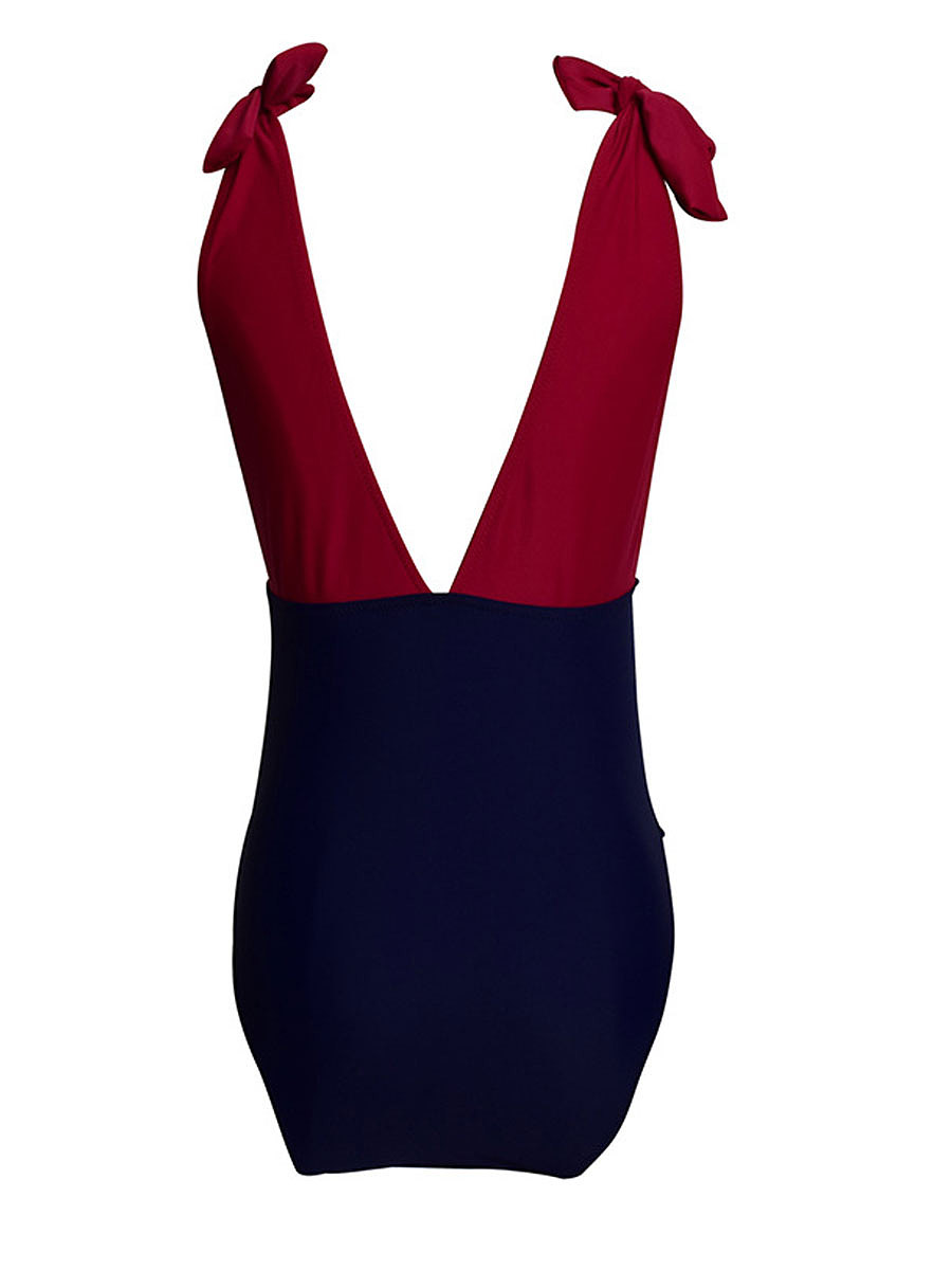 Deep V-Neck  Backless  Color Block One Piece
