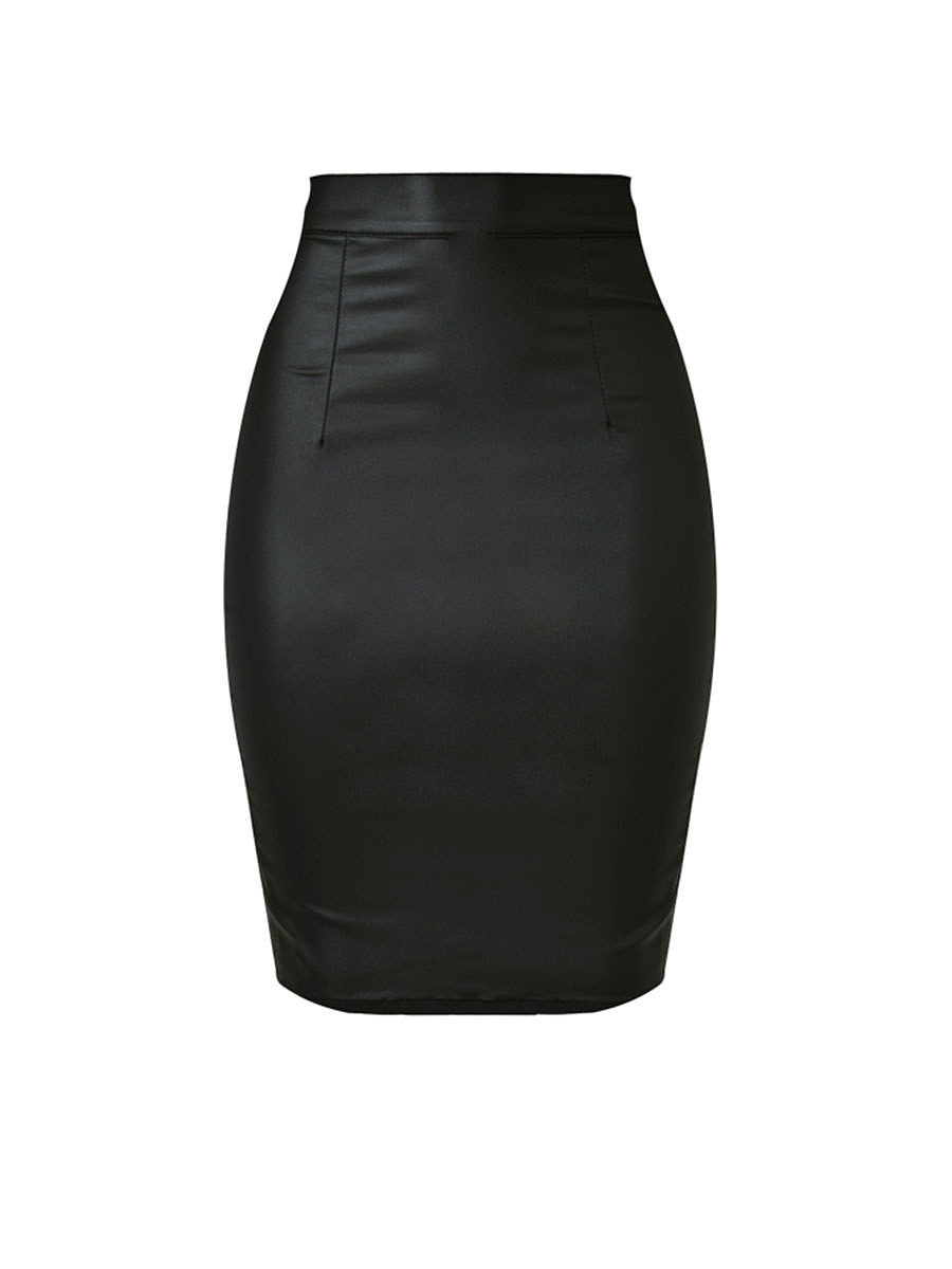 Plain Slit Zips Pencil High-Rise Midi Skirt