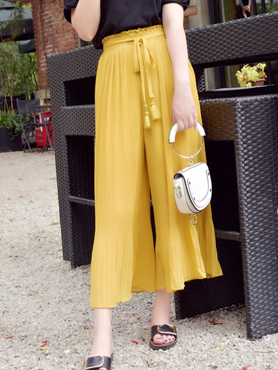 Solid Cropped Pleated Wide-Leg Casual Pants