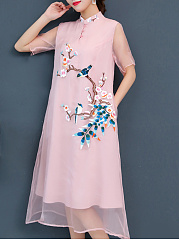 Crew Neck  Patch Pocket  Embroidery Maxi Dress