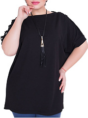 Square Neck  Decorative Lace  Plain  Short Sleeve Plus Size BlousesT-Shirts