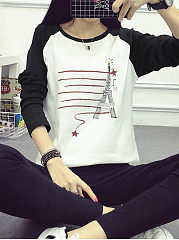 Autumn Spring  Polyester  Women  Round Neck Cat Animal Printed Printed Long Sleeve T-Shirts