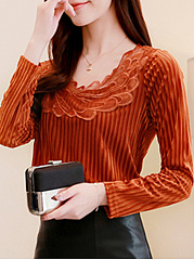 Autumn Spring  Corduroy  Women  Asymmetric Neck  Patchwork  Plain Striped Long Sleeve T-Shirts