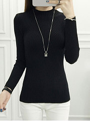 High Neck  Striped  Long Sleeve Sweaters Pullover