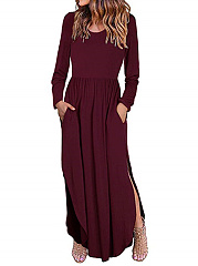 Round Neck  Plain Causal Maxi Dress
