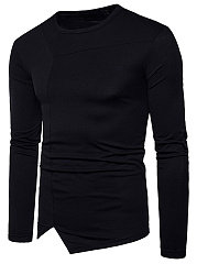 Round Neck  Asymmetric Hem  Plain Men T-Shirt