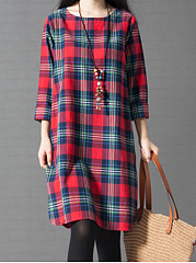 Round Neck  Printed  Cotton Shift Dress