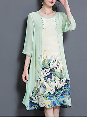 Round Neck  Floral Printed  Chiffon Maxi Dress