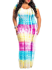 Round Neck  Patchwork  Color Block Plus Size Midi & Maxi Dresses