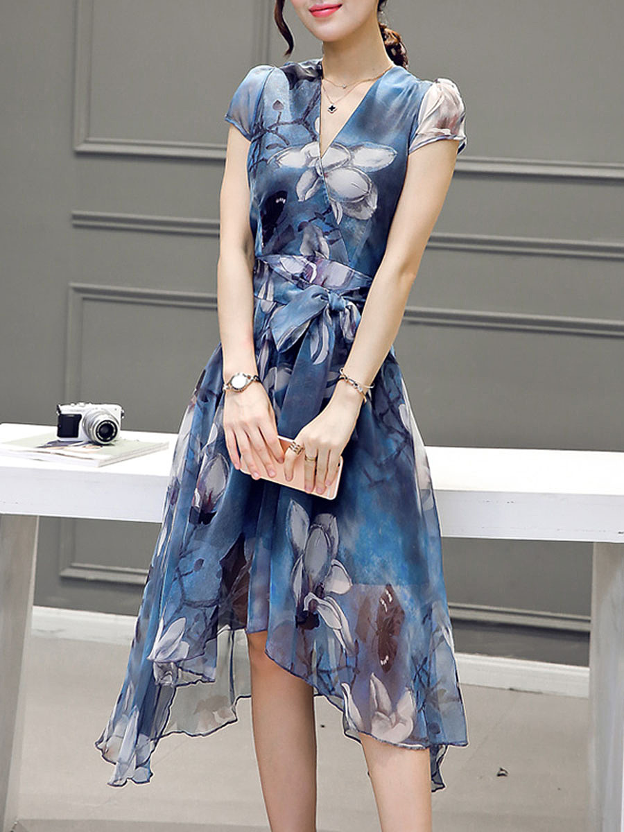 V-Neck Asymmetric Hem Belt Floral Printed Skater Dress