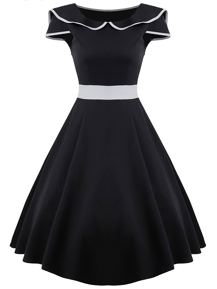 Retro Doll Collar Contrast Trim Skater Dress