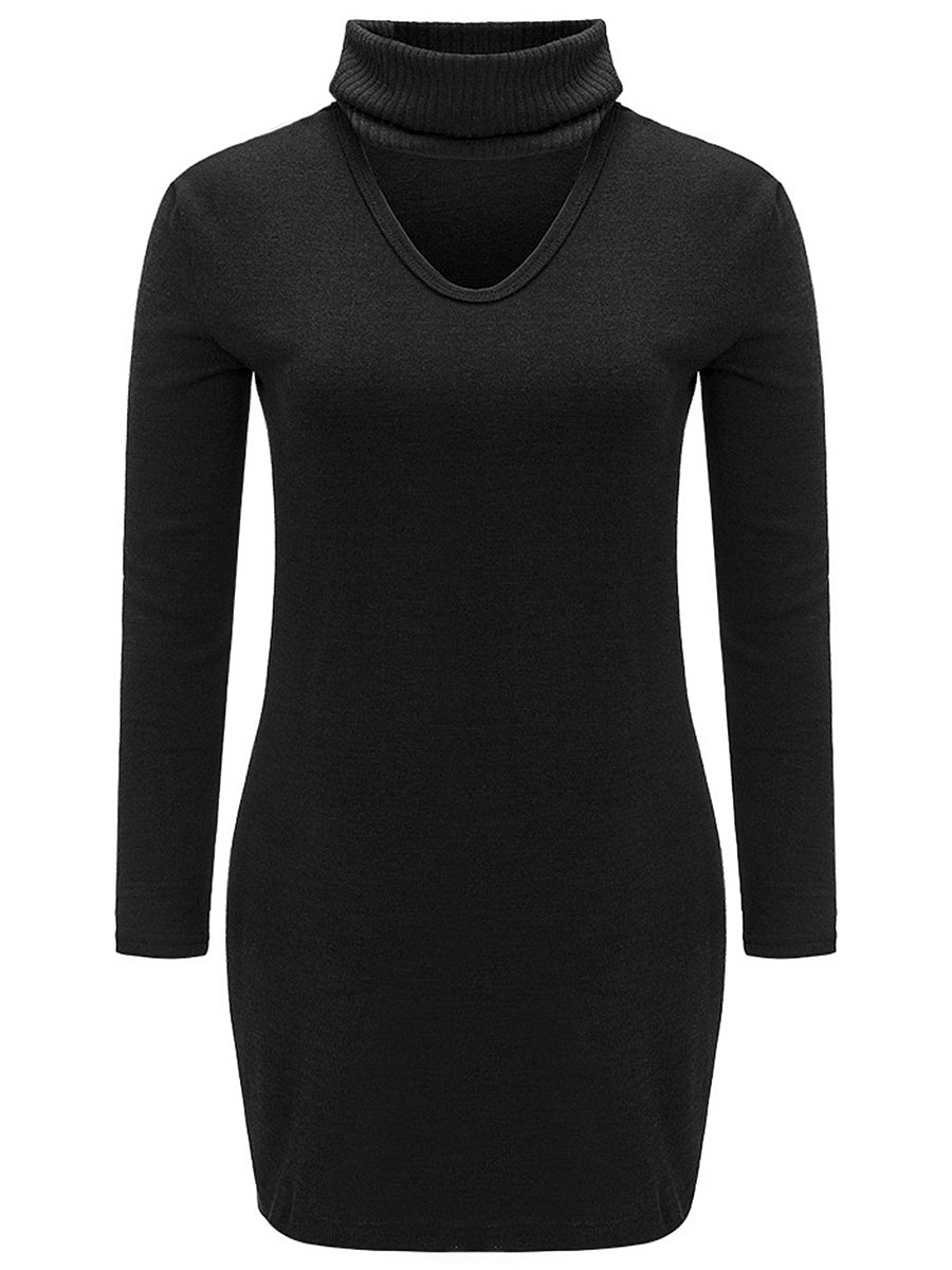 Turtleneck Cutout Plain Shift Dress