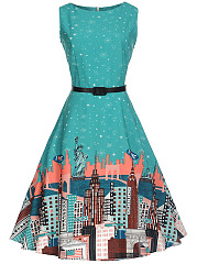 Round Neck Belt US Scenery Printed Skater Dress