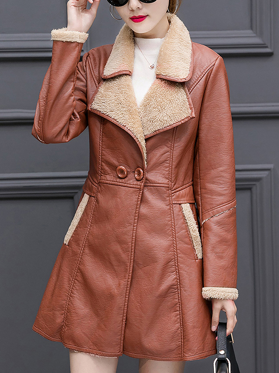Lapel Fleece Lined PU Leather Pocket Coat