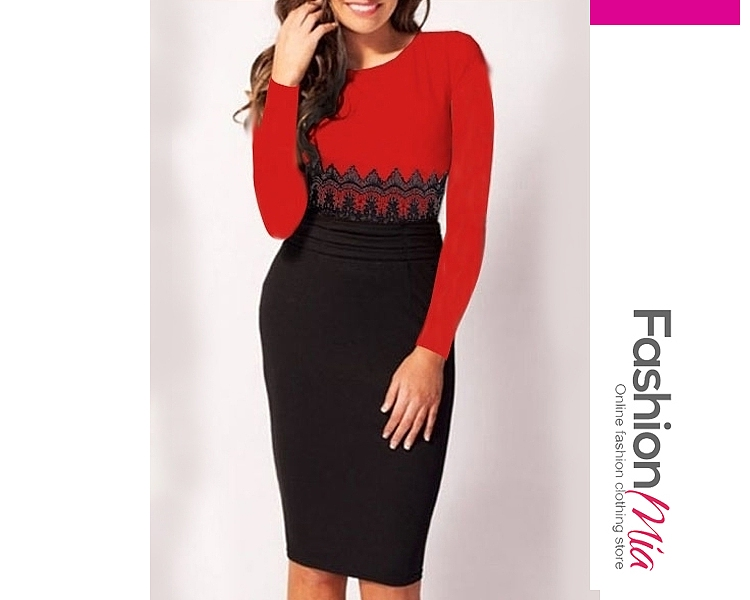 material:blend, collar&neckline:round neck, sleeve:long sleeve, embellishment:decorative lace, length:thigh-length, occasion:formal*office, season:autumn*spring, dress_silhouette:fitted, package_included:dress*1, length:99,shoulder:36,bust:85,waist:70,hip:92,