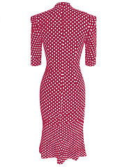 Band Collar Polka Dot Keyhole Mermaid Midi Bodycon Dress