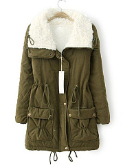 Lapel Drawstring Fleece Lined Flap Pocket Coat