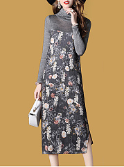 High Neck  Floral Printed Maxi Dress