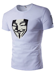 Men Guy Fawkes Mask Printed Short Sleeve T-Shirt