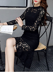 Crew Neck  Decorative Lace  Plain Bodycon Dress