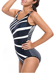 Black White One Piece In Asymmetric Stripe