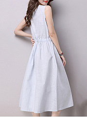Split Neck  Drawstring  Plain Midi Skater Dress