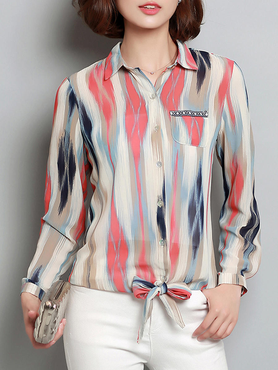 Fancy Printed Chiffon Long Sleeve T-Shirt