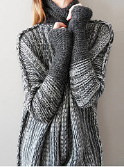 Turtleneck  Patchwork  Gradient  Long Sleeve Sweaters Pullover