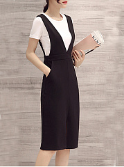 Round Neck  Color Block Two-Piece Shift Dress
