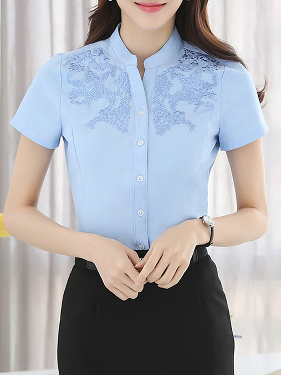 Band Collar Embroidery Plain Blouse