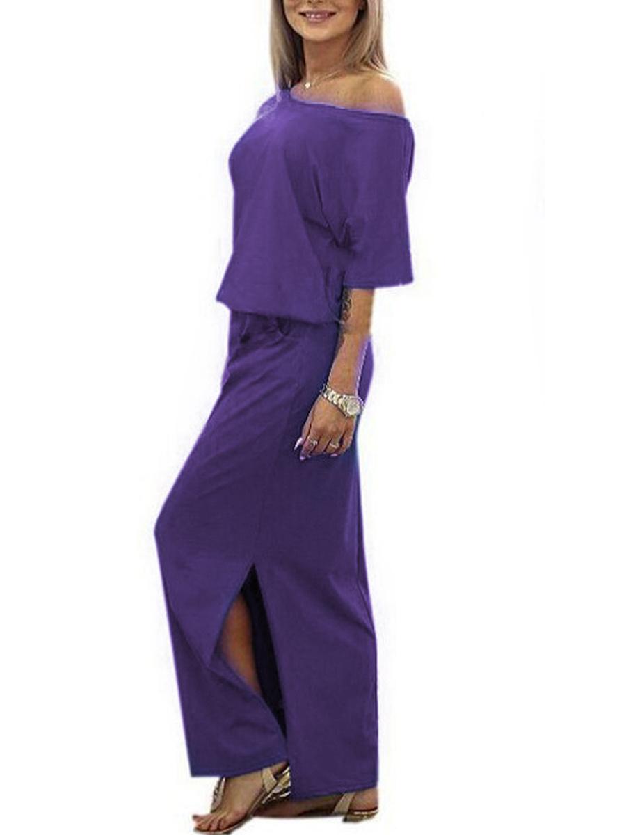 Asymmetric Neck  Elastic Waist Side Slit  Plain Maxi Dress