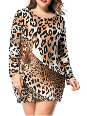 Leopard Round Neck Long Sleeve Mini Plus Size Shift Dress